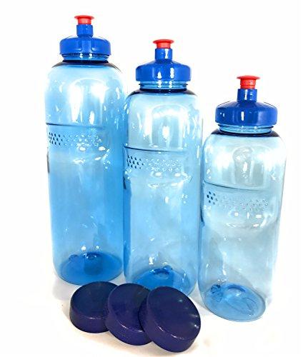 3 x Original Kavodrink Trinkflaschen aus TRITAN 100% ohne Weichmacher im Sparset: 1×1 Liter (rund), 1x 0,75 Liter (rund), 1×0,5 Liter (rund) + 3 Standarddeckel + 3 Trinkdeckel (Push PULL)