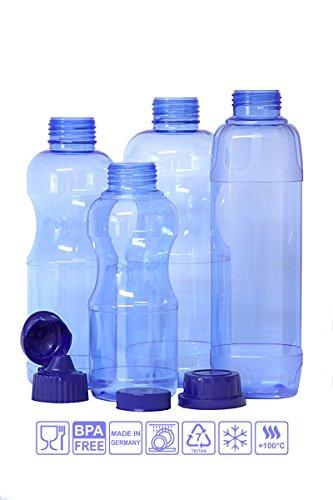 6 x TRITAN Trinkflaschen (100% ohne Weichmacher) im Sparset: 2×1 Liter (rund), 2x 0,75 Liter (rund), 2×0,5 Liter (rund) + 4 Standarddeckel + 3 Dichtdeckel + 2 Trinkdeckel – BPA freie Wasserflaschen