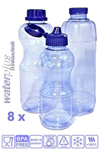 8 x TRITAN Trinkflaschen BPA frei, Schadstofffrei, Spar-set aus: 3 x 1 Liter Flasche (rund), 2 x 1 Liter Flasche (eckig), 3 x 0,5 Liter Flasche (rund) + 5 Standard-, + 4 Dicht-, + 2 Trinkdeckel, Wasser-flasche-n Sport-flasche-n Flasche-n TRITAN-Flasche-n TRITAN-Trinkflasche-n