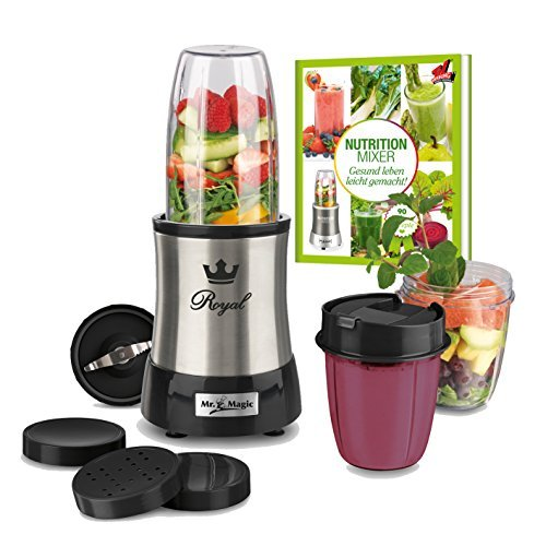 Nutrition Mixer 03320 Mr. Magic Royal 10-tlg. Edelstahl + Natural Superfood Smoothie Buch ( BPA Frei und mit 7 Funktionen)