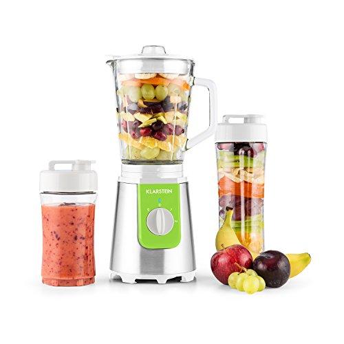 Klarstein Shiva Standmixer Mini Smoothiemaker (350 Watt, 0,8 Liter-Glaskrug, 2 Mixerbecheraus Kunsststoff, BPA-frei, Deckel) grün