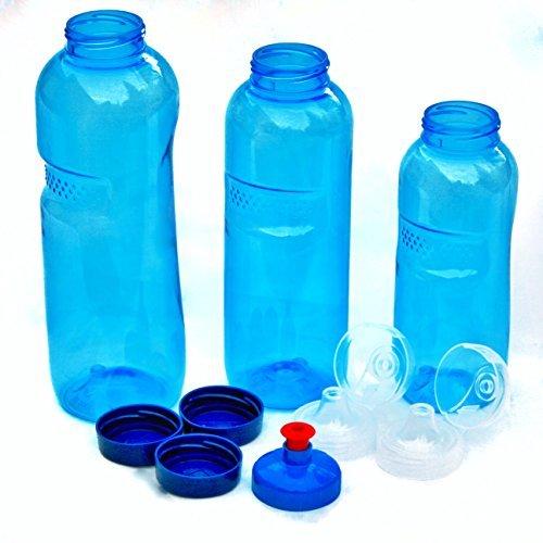 3 x Original Kavodrink TRITAN Trinkflaschen 100% ohne Weichmacher und Schadstoffe Set: 1×1 Liter (rund), 1x 0,75 Liter (rund), 1×0,5 Liter (rund) + 3 Standarddeckel + 2 Sportdeckel (FlipTop) + 1 Trinkdeckel (Push PULL)